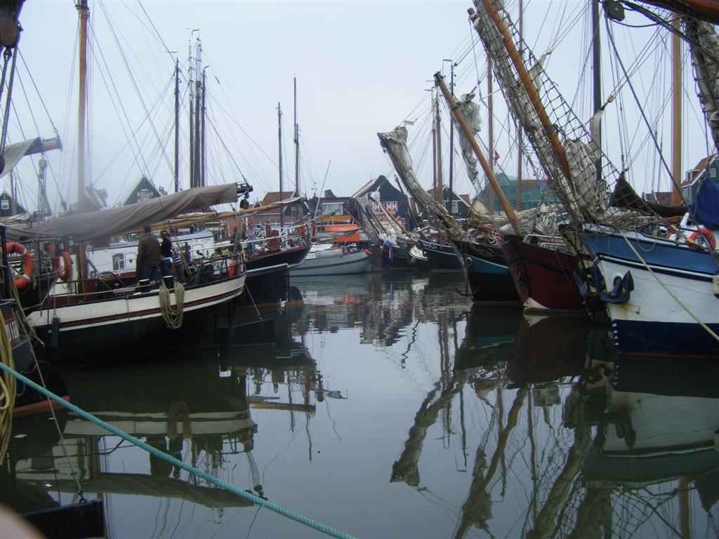 more than sixty old ships stayed the night at volendam